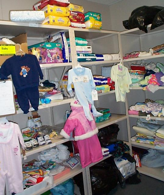 closet filled with baby items